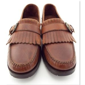 POLO Ralph Lauren Brown Fringe Buckle Loafers 13